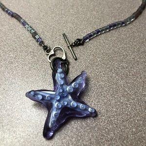 Purple Starfish toggle necklace